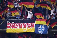 FUSSBALL UEFA Nations League in Muenchen Deutschland - Frankreich       06.09.2018 Deutschland Fans mit Fahnen, Banner Boesingen und Vereinswappen der Stuttgarter Kickers --- DFB regulations prohibit any use of photographs as image sequences and/or quasi-video. ---