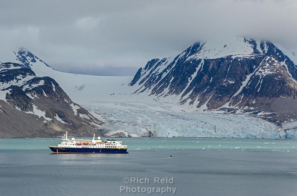 Smeerenburgbreen tide water glaciers in Bjørnfjorden in Albert I Land at Spitsbergen, Svalbard.