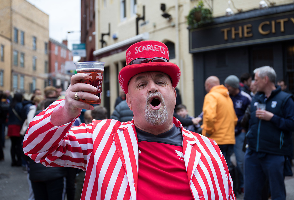 A Scarlets fan enjoying the pre match atmosphere<br /> <br /> Photographer Simon King/Replay Images<br /> <br /> Guinness PRO14 Round 21 - Dragons v Scarlets - Saturday 28th April 2018 - Principality Stadium - Cardiff<br /> <br /> World Copyright © Replay Images . All rights reserved. info@replayimages.co.uk - http://replayimages.co.uk