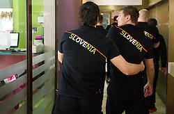 David Spiler and Marko Bezjak of Slovenia Men Handball team during 3rd day of 10th EHF European Handball Championship Serbia 2012, on January 17, 2012 in Hotel Srbija, Vrsac, Serbia.  (Photo By Vid Ponikvar / Sportida.com)