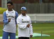 .Photo Peter Spurrier...Left, Yuvraj Singh and Sachin Tendulka Arm and shoulder exercises at net practice Lords 20020620, India Test Team, Nets, Lords. [Mandatory Credit Peter Spurrier:Intersport Images]