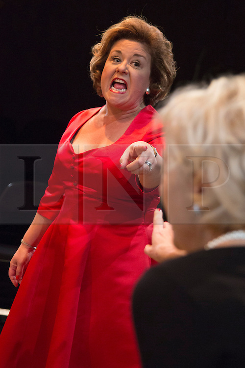 © Licensed to London News Pictures. 02/09/2015. London, UK. L-R: Wendi Peters and Wendy Morgan. World premiere of Hatched 'n' Dispatched, a black comedy set on one evening in 1959, opens at the Park Theatre in Finsbury Park. Written by Gemma Page & Michael Kirk, directed by Michael Kirk, the comedy stars Wendi Peters, Diana Vickers and Vicky Binns. Running from 1 to 26 September 2016. Photo credit : Bettina Strenske/LNP