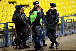 Police at practice of Slovenian team a day before FIFA World Cup 2010 Qualifying match between Russia and Slovenia, on November 13, 2009, in Stadium Luzhniki, Moscow, Russia.  (Photo by Vid Ponikvar / Sportida)