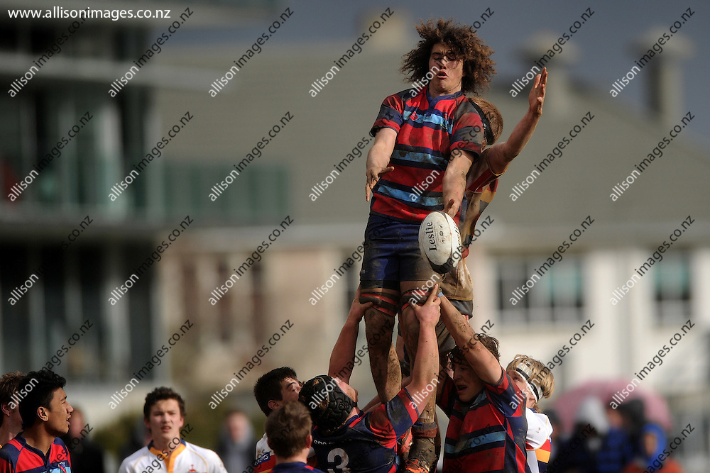 Josh Hill of South Otago High School collects a lineout ball, during the Otago Secondary Schools Competition final between John McGlashan College 1st XV and South Otago High School 1st XV, held at John McGlashan College, Dunedin, New Zealand, on the 8th of August 2015, Credit: Joe Allison / allisonimages.co.nz