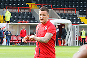Crawley Town midfielder Jimmy Smith (8) warms up before kick off during the EFL Sky Bet League 2 match between Crawley Town and Carlisle United at the Checkatrade.com Stadium, Crawley, England on 30 September 2017. Photo by Andy Walter.