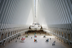 March 18, 2020, New York, New York, USA: General view of The Oculus as the Coronavirus, COVID-19, outbreak continues. Across the city businesses, schools and places of work have been shutting down, leading to empty streets and quiet neighborhoods. (Credit Image: © Joel Marklund/Bildbyran via ZUMA Press)