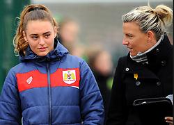 Tanya Oxtoby manager of Bristol City Women talks to Ella Rutherford of Bristol City- Mandatory by-line: Nizaam Jones/JMP- 31/03/2019 - FOOTBALL - Stoke Gifford Stadium - Bristol, England - Bristol City Women v Reading Women - FA Women's Super League 1