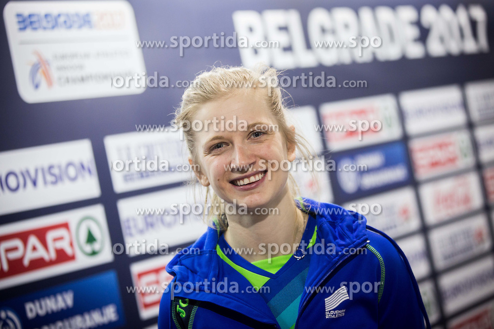 Tina Sutej of Slovenia after the Pole Vault Women Final on day two of the 2017 European Athletics Indoor Championships at the Kombank Arena on March 4, 2017 in Belgrade, Serbia. Photo by Vid Ponikvar / Sportida
