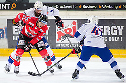 13.02.2016, Olympiaworld, Innsbruck, AUT, Euro Ice Hockey Challenge, Österreich vs Frankreich, im Bild Konstantin Komarek (AUT), Antonin Manavian (FRA) und Vincent Kara (FRA) // Konstantin Komarek of Austria Antonin Manavian of France and Vincent Kara of France during the Euro Icehockey Challenge Match between Austria and France at the Olympiaworld in Innsbruck, Austria on 2016/02/13. EXPA Pictures © 2016, PhotoCredit: EXPA/ Jakob Gruber