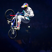 January 8, 2014 - New York, NY : Nitro Circus, an action/extreme sports show starring Travis Pastrana, made its Madison Square Garden debut in Manhattan on Wednesday night. Pictured here, Travis Pastrana performs a stunt on a bmx bike during the show. CREDIT : Karsten Moran for The New York Times **SEE LICENSING  RESTRICTIONS IN INSTRUCTION FIELD**