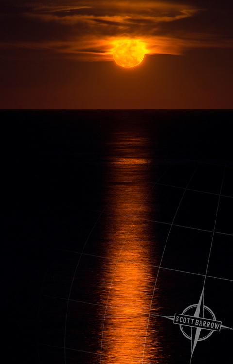 "The ""Super"" moon of November 14, 2016 rising up from the Atlantic Ocean off of Block Island, RI."