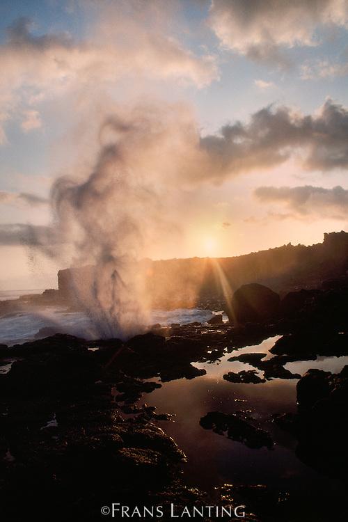 Blowhole at dawn, Hood Island, Galapagos Islands