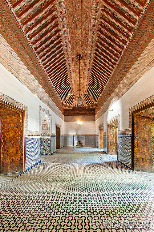 Interior and ceiling in one of the rooms of the Bahia Palace in Marrakech, Morocco.