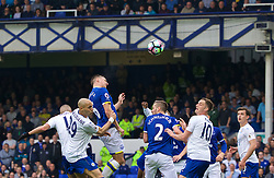 LIVERPOOL, ENGLAND - Sunday, April 9, 2017: Everton's captain Phil Jagielka scores the third goal against Leicester City in action against Leicester City during the FA Premier League match at Goodison Park. (Pic by David Rawcliffe/Propaganda)
