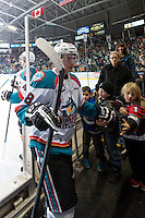 KELOWNA, CANADA - FEBRUARY 28: Joe Gatenby #28 of Kelowna Rockets exits the ice against the Calgary Hitmen on February 28, 2015 at Prospera Place in Kelowna, British Columbia, Canada.  (Photo by Marissa Baecker/Shoot the Breeze)  *** Local Caption *** Joe Gatenby;