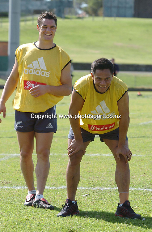 Kevin Senio with Dan Carter. New Zealand Rugby Union Training, Henson Park, Merrickville, Sydney, 9/08/2005. © Matthew Impey