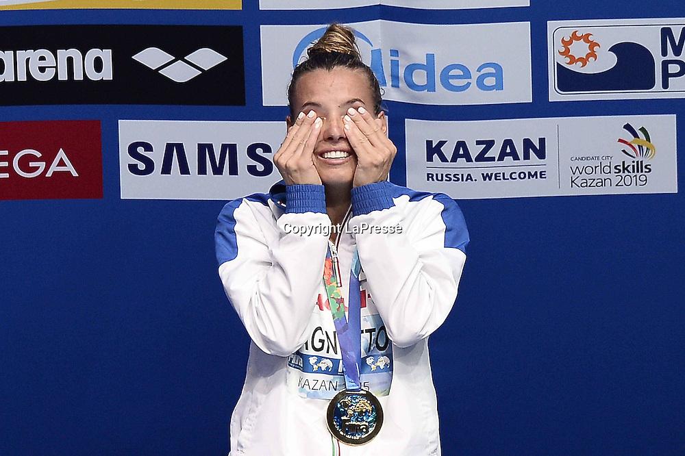 Foto Fabio Ferrari - LaPresse<br /> 28/07/2015 Kazan ( Russia ) <br /> Sport <br /> 16 Campionati del mondo FINA 2015 - Diving - 1m piattaforma donne - finale<br />  nella foto: Tania Cagnotto (Ita) oro, prima classificata<br /> <br /> Photo Fabio Ferrari - LaPresse<br /> 28 July 2015 Kazan ( Russian ) <br /> Sport<br /> 16th FINA World Championship 2015 - Diving - Women's 1m Springboard - final.<br /> in the picture: Tania Cagnotto (Ita) first place