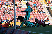 Clayton Donaldson of Bradford City is involved in a goal line scramble resulting in a disallowed goal during the EFL Sky Bet League 2 match between Bradford City and Carlisle United at the Utilita Energy Stadium, Bradford, England on 21 September 2019.