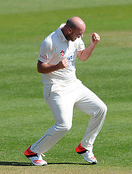 Durham's Chris Rushworth celebrates the wicket of Somerset's Lewis Gregory. - Photo mandatory by-line: Harry Trump/JMP - Mobile: 07966 386802 - 14/04/15 - SPORT - CRICKET - LVCC County Championship - Day 3 - Somerset v Durham - The County Ground, Taunton, England.