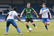 Bury Defender, Greg Leigh (3), Scunthorpe United Defender, Scott Wiseman (2) and Bury Midfielder, Tom walker (23) during the EFL Sky Bet League 1 match between Bury and Scunthorpe United at the JD Stadium, Bury, England on 1 October 2016. Photo by Mark Pollitt.