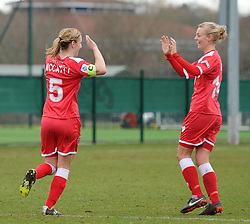 Goal scorer Grace McCatty celebrates with Sophie Ingle - Photo mandatory by-line: Paul Knight/JMP - Mobile: 07966 386802 - 01/03/2015 - SPORT - Football - Bristol - Stoke Gifford Stadium - Bristol Academy Women v Aston Villa Ladies - Pre-season friendly