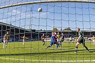 NIJMEGEN, NEC - Vitesse, voetbal Eredivisie, seizoen 2013-2014, 29-09-2013, Stadion de Goffert, Vitesse speler Davy Propper (M) schiet de bal op de lat, NEC speler Michel Breuer (R).