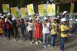 October 31, 2018 - Kolkata, West Bengal, India - Children hold poster and take part in a rally organized on the occasion of Rashtriya Ekta Diwas the birth anniversary of India first Home Minister Sardar Vallabhbhai Patel. (Credit Image: © Saikat Paul/Pacific Press via ZUMA Wire)