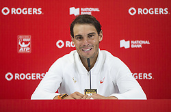 TORONTO, Aug. 12, 2018  Rafael Nadal of Spain attends press conference after the semifinal match of men's singles against Karen Khachanov of Russia at the 2018 Rogers Cup in Toronto, Canada, Aug. 11, 2018. Rafael Nadal of Spain won 2-0. (Credit Image: © Zhz/Xinhua via ZUMA Wire)