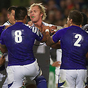 Schalk Burger, South Africa, is confronted by George Stowers, Samoa,  during the South Africa V Samoa, Pool D match during the IRB Rugby World Cup tournament. North Harbour Stadium, Auckland, New Zealand, 30th September 2011. Photo Tim Clayton...