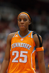 Dec 20, 2011; Stanford CA, USA; Tennessee Lady Volunteers forward Glory Johnson (25) before a free throw against the Stanford Cardinal during the second half at Maples Pavilion.  Stanford defeated Tennessee 97-80. Mandatory Credit: Jason O. Watson-US PRESSWIRE