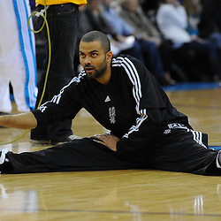 Jan 18, 2010; New Orleans, LA, USA; San Antonio Spurs guard Tony Parker stretches on the court prior to tip off against the New Orleans Hornets at the New Orleans Arena. Mandatory Credit: Derick E. Hingle-US PRESSWIRE