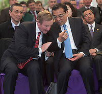17/05/2015 . H.E. Mr Li Premier of the State Council,  People's Republic of China with AN Taoiseach Enda Kenny TD at the farm of  Cathal Garvey from Ower Co. Mayo. Photo: Andrews Downes XPOSURE