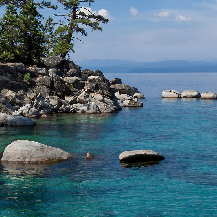 "Detail (36"" sq.} of Lake Tahoe from Nevada's Lake Tahoe State Park panoramic mural at 30 ft. enlargement."