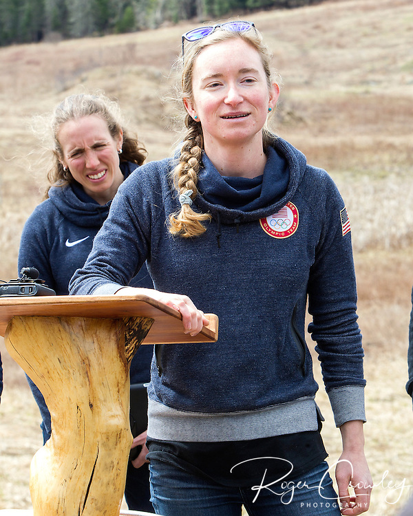EAST MONTPELIER - USA Vermont Olympians speak at Morse Farm about the influence of climate change on winter sports they have experienced world wide and make suggestions on attacking the problem. Speaking, Hannah Dreissigacker,  Background Susan Dunklee.