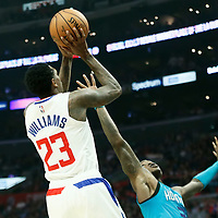 LOS ANGELES, CA - OCT 28: Lou Williams (23) of the LA Clippers shoots the ball during a game on October 28, 2019 at the Staples Center, in Los Angeles, California.