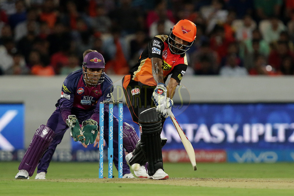 Shikhar Dhawan of Sunrisers Hyderabad plays a shot during match 22 of the Vivo IPL 2016 (Indian Premier League ) between the Sunrisers Hyderabad and the Rising Pune Supergiants held at the Rajiv Gandhi Intl. Cricket Stadium, Hyderabad on the 26th April 2016<br /> <br /> Photo by Rahul Gulati / IPL/ SPORTZPICS