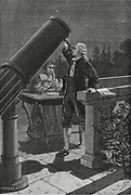 William Herschel (1738-1822) discovering Uranus in 1781. His sister Caroline taking notes.