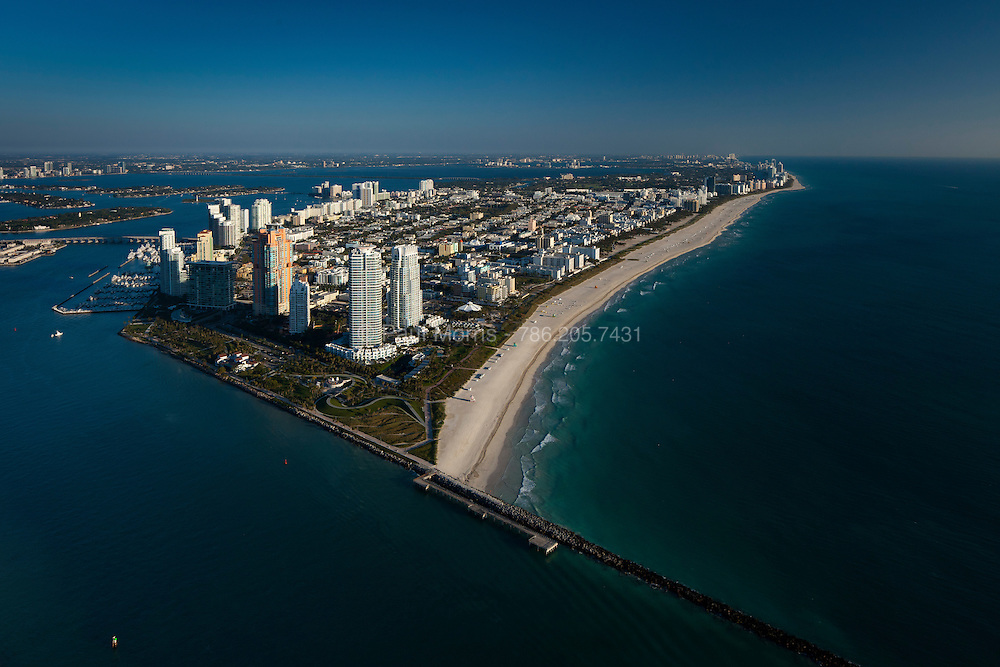 Aerial of Miami Beach South Point, South Point Park, Ocean Drive and the entrance to  Government Cut.