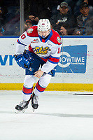 KELOWNA, BC - NOVEMBER 26: Vladimir Alistrov #10 of the Edmonton Oil Kings heads to the bench after an injury to his hand against the Kelowna Rockets at Prospera Place on November 26, 2019 in Kelowna, Canada. (Photo by Marissa Baecker/Shoot the Breeze)