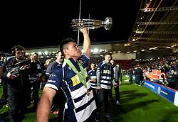 Bristol Rugby Winger David Lemi (capt) holds the trophy a loft - Mandatory byline: Joe Meredith/JMP - 25/05/2016 - RUGBY UNION - Ashton Gate Stadium - Bristol, England - Bristol Rugby v Doncaster Knights - Greene King IPA Championship Play Off FINAL 2nd Leg.