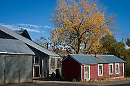 Fall colors frame old building along highway 341 in Nevada