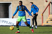 Forest Green Rovers Dale Bennett(2) warming up during the EFL Sky Bet League 2 match between Morecambe and Forest Green Rovers at the Globe Arena, Morecambe, England on 17 February 2018. Picture by Shane Healey.