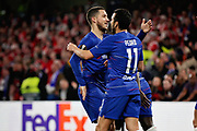 Chelsea FC forward Pedro (11) celebrates his goal with Chelsea FC forward Eden Hazard (10) during the Europa League quarter-final, leg 2 of 2 match between Chelsea and Slavia Prague at Stamford Bridge, London, England on 18 April 2019.