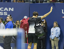 September 6, 2017 - New York, New York, United States - Roger Federer of Switzerland leaving court after loosing to Juan Martin del Potro of Argentina at US Open Championships at Billie Jean King National Tennis Center  (Credit Image: © Lev Radin/Pacific Press via ZUMA Wire)