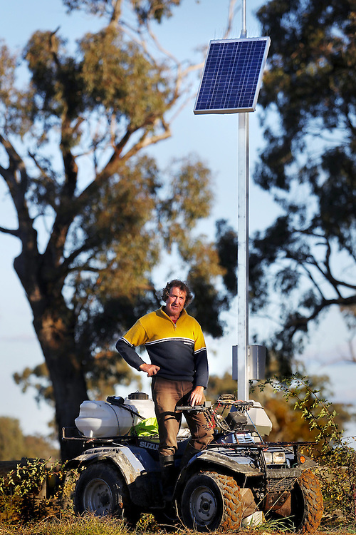 Girgarre farmer Steven Baker with a MagFlow water meter which was installed at his property by the government at a cost of around $50,000 despite the fact that his farm had sold its water rights permanently before he bought it. - Pic By Craig Sillitoe 27/05/2010 SPECIAL 000 melbourne photographers, commercial photographers, industrial photographers, corporate photographer, architectural photographers, This photograph can be used for non commercial uses with attribution. Credit: Craig Sillitoe Photography / http://www.csillitoe.com<br />