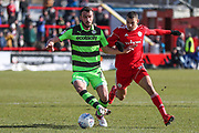 Forest Green Rovers Farrend Rawson(20) on the ball during the EFL Sky Bet League 2 match between Accrington Stanley and Forest Green Rovers at the Wham Stadium, Accrington, England on 17 March 2018. Picture by Shane Healey.