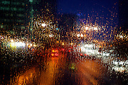 UK ENGLAND LONDON 21NOV02 - Rain on the windscreen of a double-decker bus.<br />