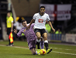 Nick Blackman of Derby County is fouled by Andrew Taylor of Reading - Mandatory byline: Robbie Stephenson/JMP - 12/01/2016 - FOOTBALL - iPro Stadium - Derby, England - Derby County v Reading - Sky Bet Championship