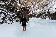 Mongolia. in the Gobi desert  near Bulgan .  Yollin am , frozen river   / Yoliin Ham riviere gelee dans le desert de Gobi  Bulgan - Mongolie