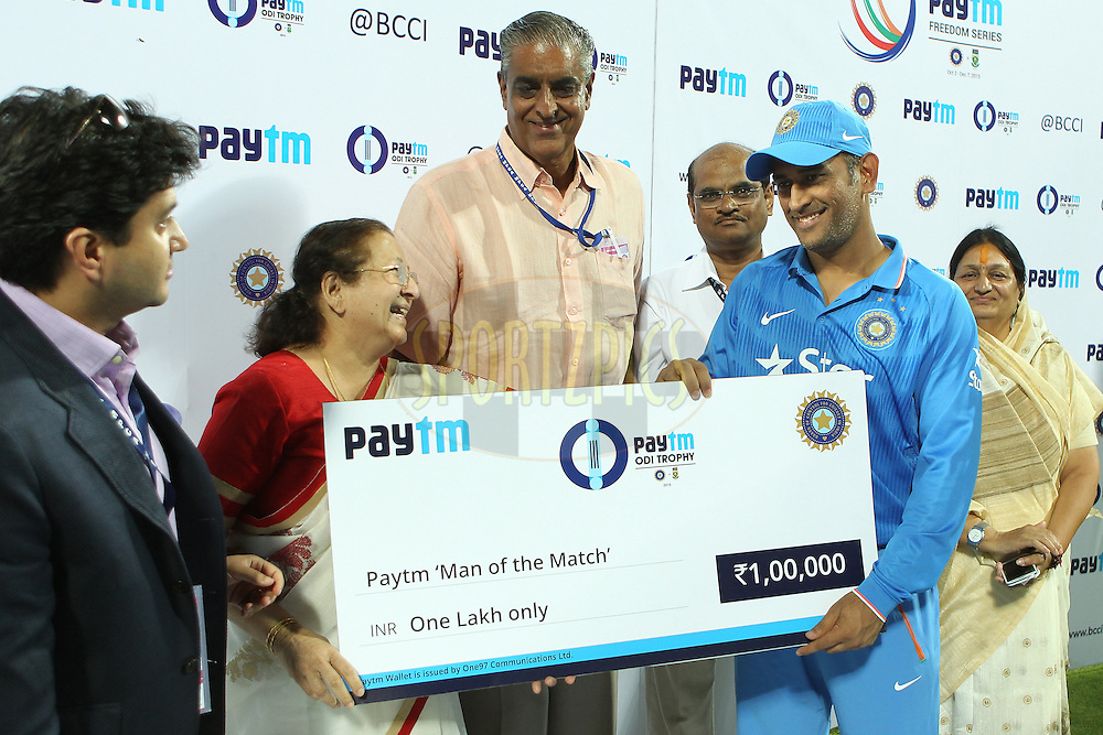 MS Dhoni, captain, of India is man of the match during the 2nd Paytm Freedom Trophy Series One Day International ( ODI ) match between India and South Africa held at the Holkar Stadium in Indore, India on the 14th October 2015<br /> <br /> Photo by Ron Gaunt/ BCCI/ Sportzpics